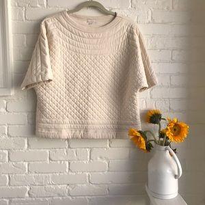 Gap quilt stitch cream short sleeve sweater shirt